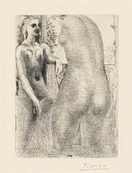 Pablo Picasso-Modele et grande sculpture de dos, from La Suite Vollard-1933
