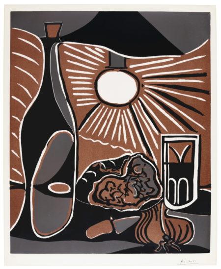 Pablo Picasso-Nature Morte Au Casse-Croute Bouteille (B. 1100; Ba. 1315; Pp. L-136)-1962