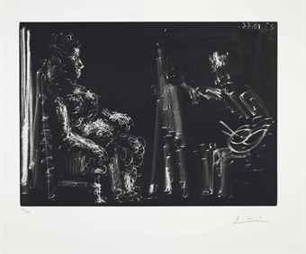 Pablo Picasso-Peintre et modele allonge-1966
