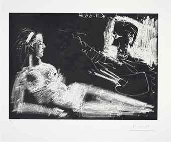 Pablo Picasso-Peintre et modele au bandeau-1966