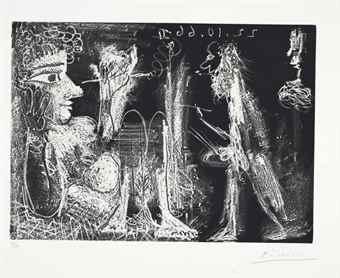 Pablo Picasso-Peintre et modele au fume-cigarette-1966