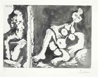 Pablo Picasso-Peintre et modele avec un noeud dans les cheveux-1964