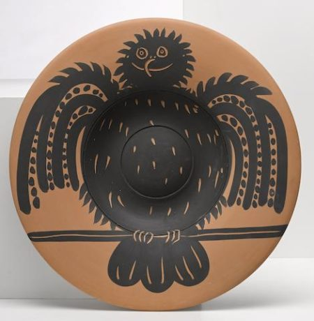 Pablo Picasso-Perched black owl-1957