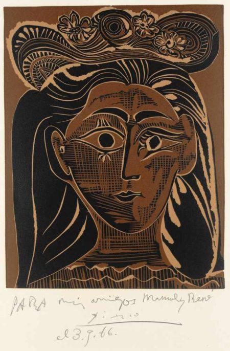 Pablo Picasso-Portrait De Jacqueline Au Chapeau De Paille Fleuri-1962