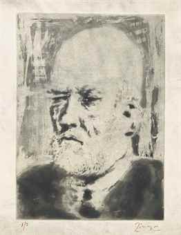 Pablo Picasso-Portrait de Vollard II, from La Suite Vollard-1937