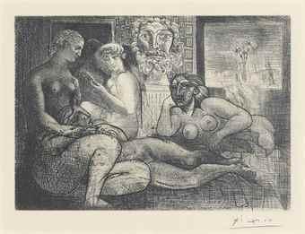 Pablo Picasso-Quatre femmes nues et tete sculptee, from La Suite Vollard-1934