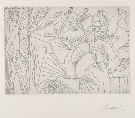 Pablo Picasso-Raphael et la Fornarina XXII pl. 317 from Series 347-1968