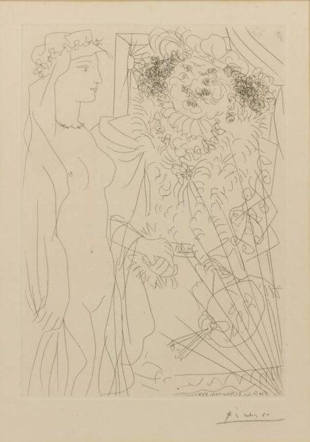 Pablo Picasso-Rembrandt Tenant Par La Main Une Jeune Femme Au Voile-1934