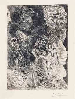 Pablo Picasso-Rembrandt a la palette, from: La Suite Vollard-1934