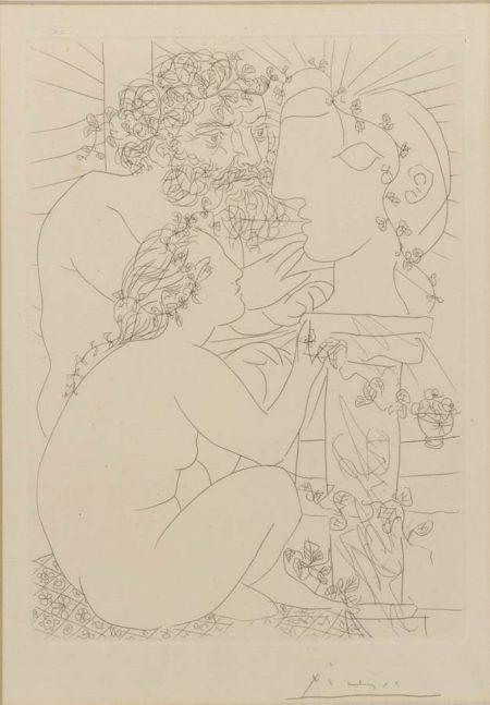 Pablo Picasso-Sculpteur Avec Son Modele, Sa Sculpture Et Un Bol D'Anemones-1933