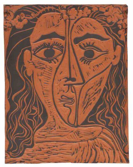 Pablo Picasso-Tete De Femme A La Couronne De Fleurs-1964