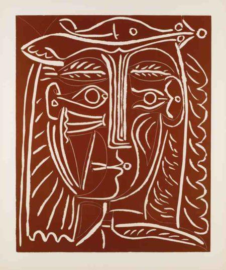 Pablo Picasso-Tete De Femme Au Chapeau / Paysage Avec Baigneurs-1962