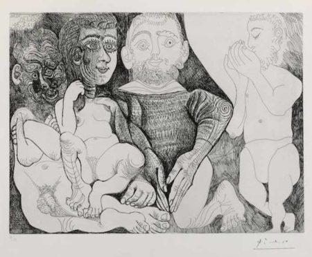Pablo Picasso-Vieil homme consupiscent et impuissant avec une prostituee espagnole sur les genoux marin se cachant le sexe et jardinier pl. 6 from Series 156-1970
