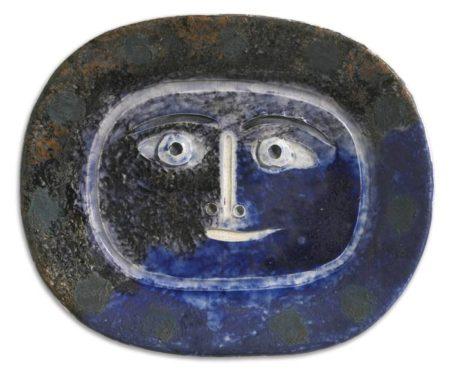 Pablo Picasso-Visage Brun / Bleu (A. R. 2)-1947