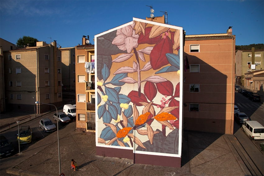 Pastel - Mural for Milestone Project, Girona, Spain, 2015