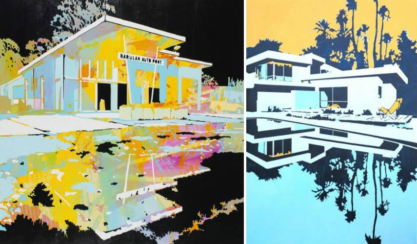 Paul Davie - Abandoned Roadside (Left) - Tree House, 2016 (Right)