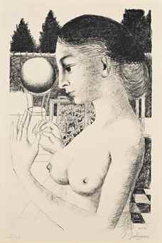 Paul Delvaux-Woman with Ball-1971