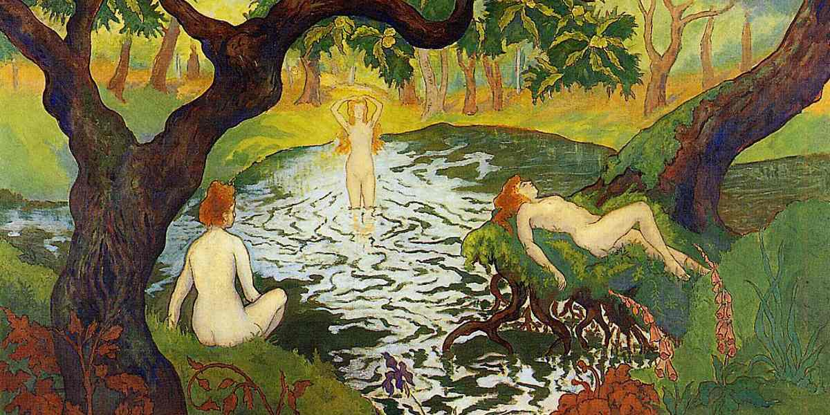 Paul Elie Ranson - Three Bathers among the Irises (Detail), circa 1900 - Image source oilpaintings-sales