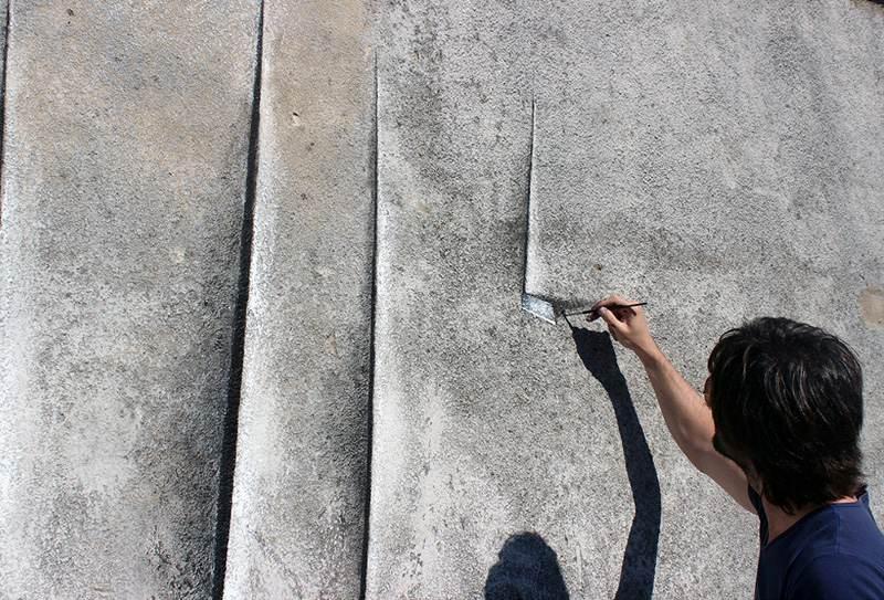 Pejac - Wallcanvas - Tribute to Lucio Fontana - Santander, Spain, 2014, street art, mural