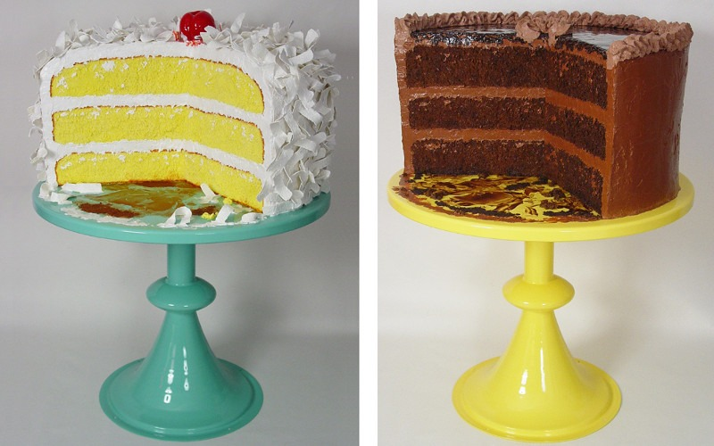 Peter Anton - Coconut Cake - 2012 (Left) / Chocolate Cake - 2012 (Right)