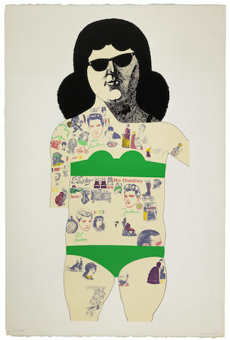 Peter Blake-Tattooed Lady (Green)-1985