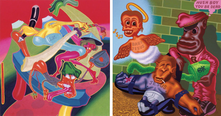 Peter Saul paintings are on display in museum and gallery