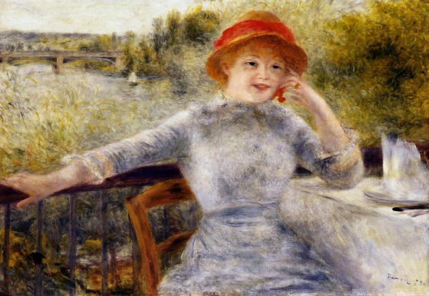 Pierre-Auguste Renoir - Alphonsine Fournaise on the Isle of Chatou, 1879, Image via paintings123com works portrait life century paris claude