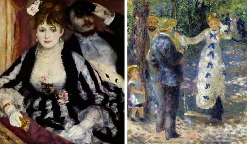 Pierre-Auguste Renoir - La Loge, 1874 (Right) - The Swing, 1876 (Left), Images via enwikipediaorg works