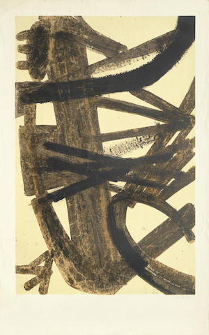 Pierre Soulages-Composition en Brune et Jaune-1960