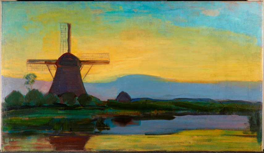 Piet Mondrian - Oostzijdse Mill with Extended Blue, Yellow and Purple Sky, 1907-1908 - Image via abstractcriticalcom
