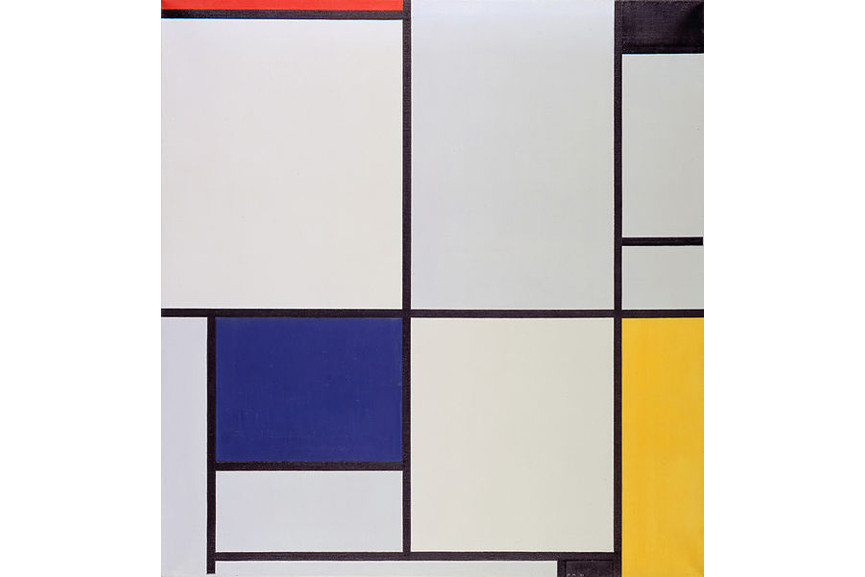 Well known geometric abstract painting by Mondrian still looks modern today