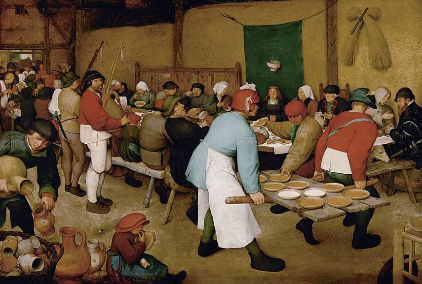 Bruegel's painted scene of a peasant wedding