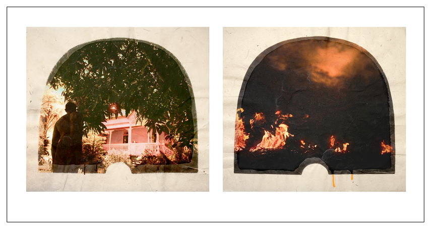 Tracey Moffatt Plantation (Diptych No. 12), 2009 from 12 diptychs digital print with archival pigments, InkAid, watercolour paint and archival glue on handmade Chautara Lokta paper 46 x 50.5 cm (each) Edition of 12 + 2 A/Ps. Courtesy of the artist and Roslyn Oxley9 Gallery, Sydney