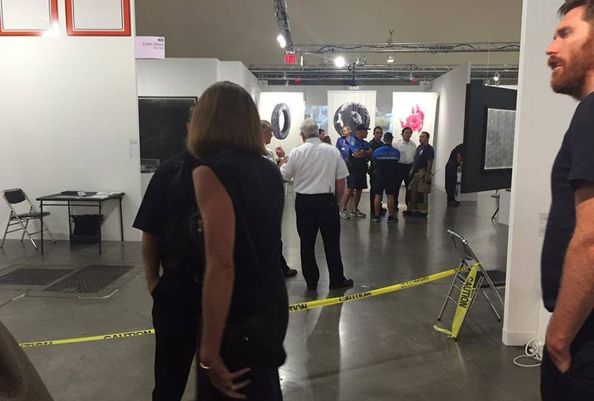 Police tape around the stabbing scene at Art Basel Miami Beach. Courtesy Miami Herald