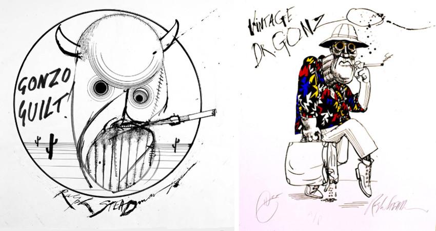 Ralph Steadman - Gonzo Guilt (Left) - Vintage Dr. Gonzo (Right), prints