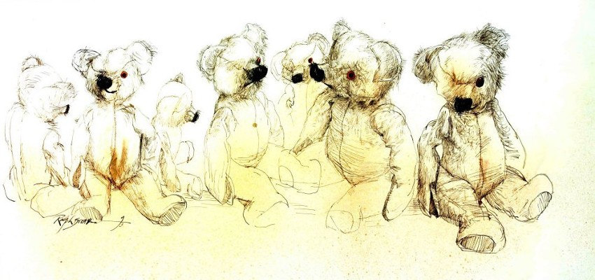 Ralph Steadman - Teddy Poses, hunter, animal, website, collection, page, prints, shop