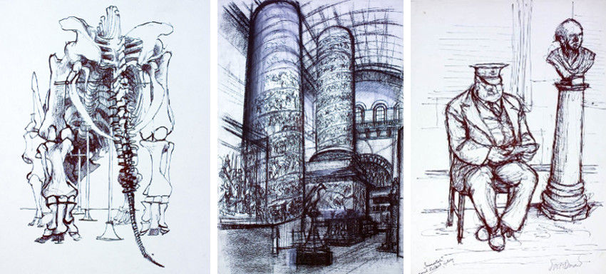 Ralph Steadman - Tric Skeleton (Left) - Museum Interior (Center) - Reading Guard (Right), shop, prints, page