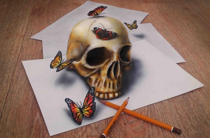 optical email contact drawings post facebook artist like 2016 jjk year posts animals design facebook facebook artist year Ramon Bruin - Skull and Butterflies