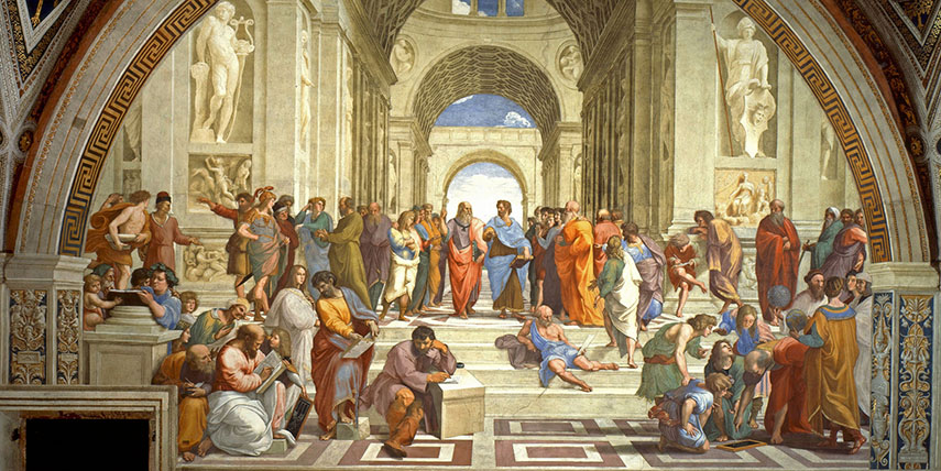Raphael - Philosophy (School of Athens), 1509-1511. Stanza della Signature, Vatican Palace, via Wikimedia