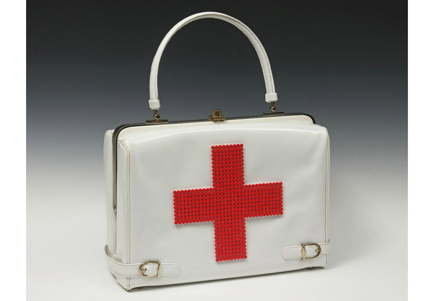 Michele Pred - Red Cross Purse, 2013, Expired birth control pills, Vintage purse, enamel