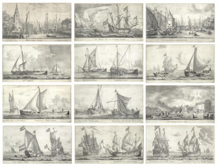 Reinier Nooms Zeeman-Various Ships and Views of Amsterdam II-1650