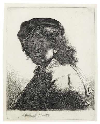 Rembrandt van Rijn-Self Portrait in a cap and scarf with the face dark: Bust-1633