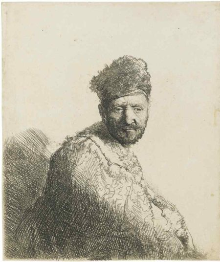 Rembrandt van Rijn-Bearded Man, In Furred Oriental Cap And Robe-1631