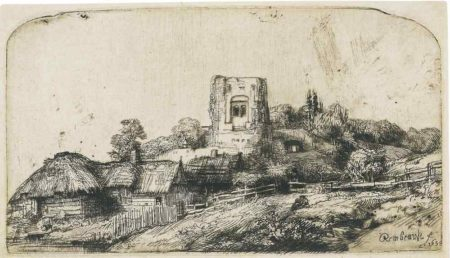 Rembrandt van Rijn-Landscape With A Square Tower-1650