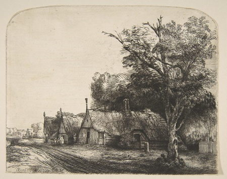 Rembrandt van Rijn-Landscape With Three Gabled Cottages Beside a Road-1650