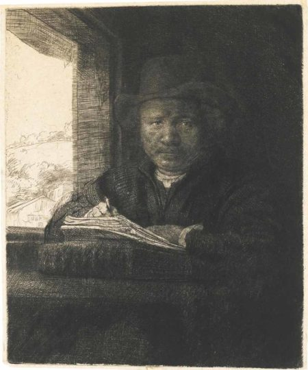 Self Portrait Drawing At A Window-1648