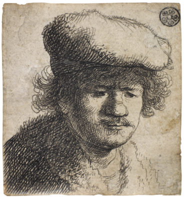 Rembrandt van Rijn-Self Portrait with cap pulled forward-1630