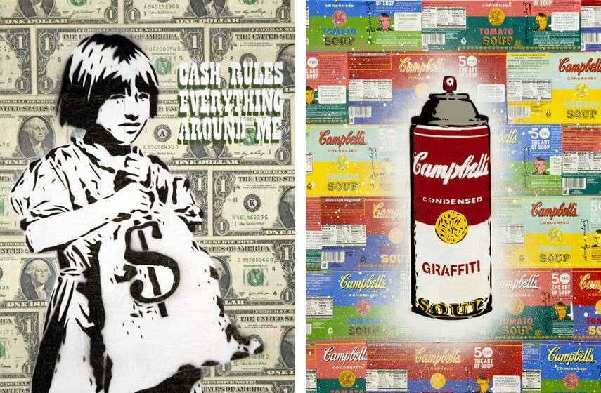 Rene Gagnon - Cash Rules Everything Around Me (left), 2008, 50th Aniversary Graffiti Soup (right), 2012