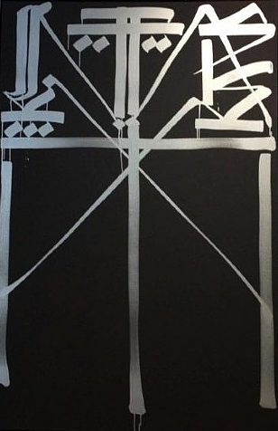Retna-Untitled (Silver and Black)-2013