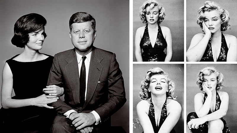 Jacqueline and John F. Kennedy, 1961 (Left) / M. Monroe, 1957